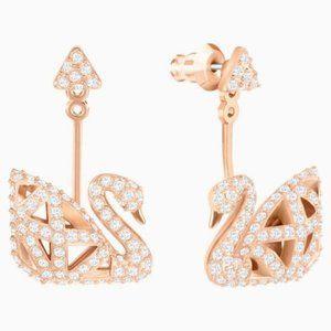 Swarovski facet swan pierced earrings, white